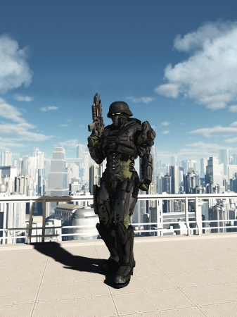 Illustratie van een Science fiction Space Marine Commando patrouilleren in de straten van een futuristische stad, 3d digitaal teruggegeven illustratie