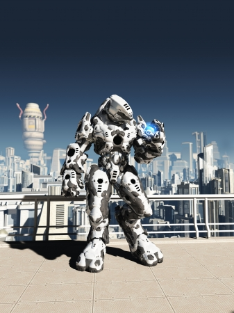 Illustration of a futuristic science fiction battle droid guarding the streets of a future city, 3d digitally rendered illustration