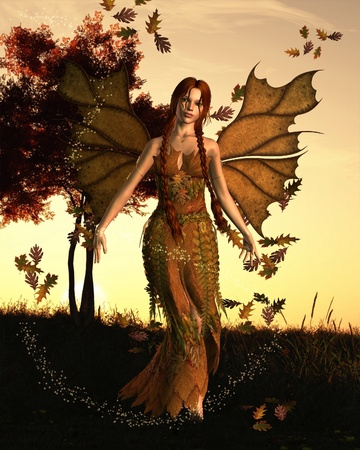fantasy fairy: Illustration of a fairy spirit with an Autumn  fall  background, 3d digitally rendered illustration