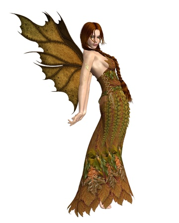 fey: Illustration of a fairy spirit dressed in Autumn  fall  leaves, 3d digitally rendered illustration