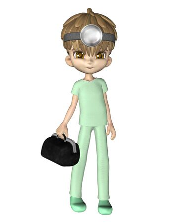 boy doctor: Cute toon doctor or medic, 3d digitally rendered illustration