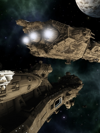 Illustrated science fiction scene of giant space battle cruisers, 3d digitally rendered illustration