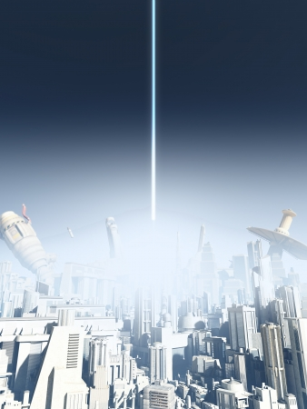 Illustration of an explosion in a futuristic science fiction city being attacked from above with an energy beam, 3d digitally rendered illustration illustration