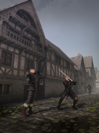 timbered: Illustration of two swordsmen fighting in the street of a Medieval or fantasy town, 3d digitally rendered illustration