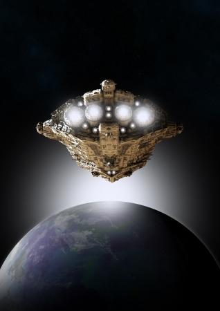 태양이 상승, 디지털 렌더링 된 3 차원 일러스트와 함께 지구와 행성 주위를 궤도에 우주선의 공상 과학 소설 장면을 보여줍니다