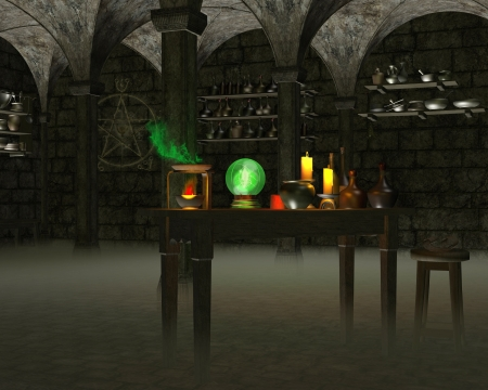 Alchemist s laboratory in a stone cellar with experiments on a wooden table and magic symbol on the wall, 3d digitally rendered illustration illustration