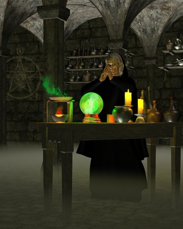 Alchemist or wizard in his laboratory in a stone cellar with experiments on a wooden table and magic symbol on the wall, 3d digitally rendered illustration illustration