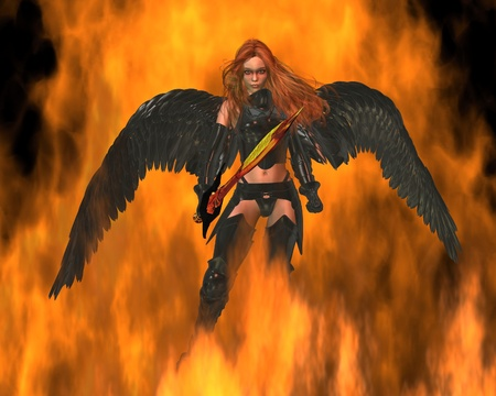 Illustration of a Fire Angel with a golden sword walking through flames, 3d digitally rendered illustration