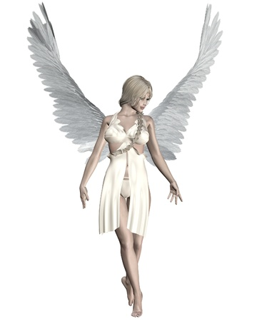 Illustration of a beautiful female angel with pale skin, blonde hair and white feather wings, 3d digitally rendered illustration illustration