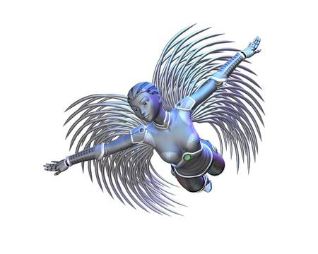 alien women: Illustration of an Alien angel with silver wings, 3d digitally rendered illustration Stock Photo