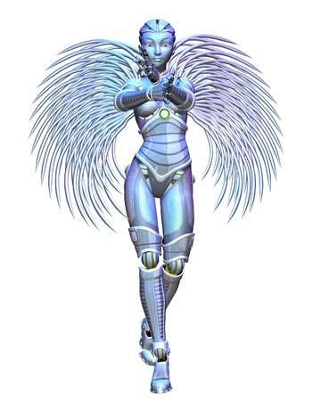 angel 3d: Illustration of an Alien angel with silver wings, 3d digitally rendered illustration Stock Photo