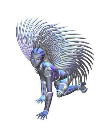 Illustration of an Alien angel with silver wings, 3d digitally rendered illustration illustration
