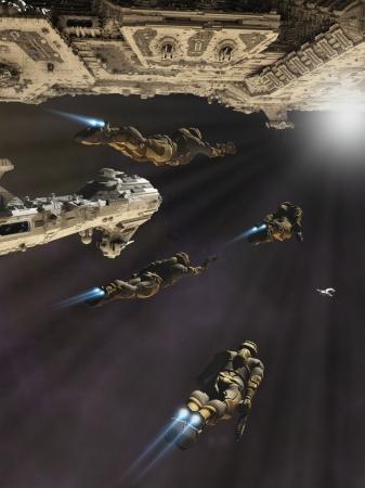 Marines Espaciales con jet packs a punto de embarcar en un crucero de batalla, 3d digital rindió la ilustración