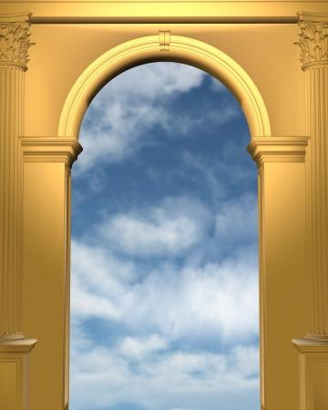 Bewolkte blauwe hemel gezien door een gouden boog met Korinthische zuilen, 3d digitaal teruggegeven illustratie Stockfoto