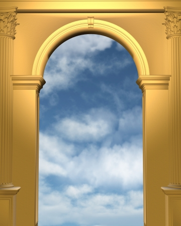 archway: Cloudy blue sky seen through a gold archway with Corinthian columns, 3d digitally rendered illustration