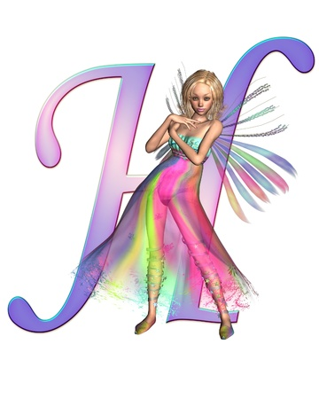 Upper case letter H from a fairy alphabet, decorated with pretty fairy, 3D digitally rendered illustration