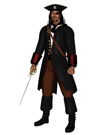 leather coat: Pirate King in leather coat with hat and eye patch, 3d digitally rendered illustration