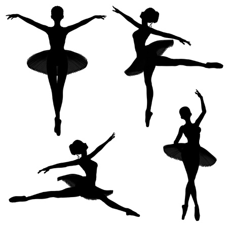 Illustrated silhouettes of a ballerina in a classical style tutu on a white background in various ballet poses