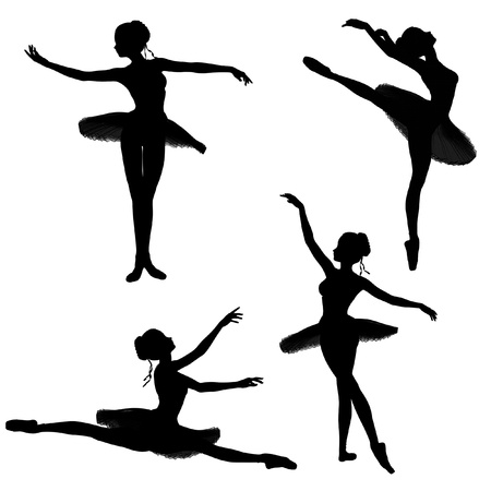 ballerina silhouette: Illustrated silhouettes of a ballerina in a classical style tutu on a white background in various ballet poses