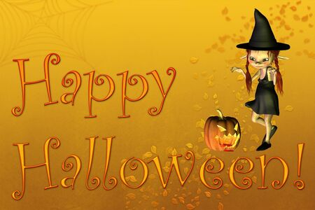 Happy Halloween card or background illustration with text, little witch, pumpkin lantern and autumn leaves illustration