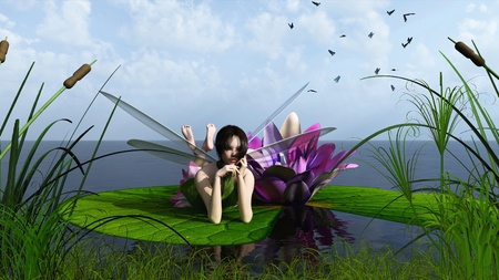Illustration of a pink waterlily fairy lying on a lily pad at the edge of a calm lake, 3D digitally rendered illustration