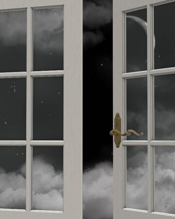 casement: View of a cloudy nighttime sky with crescent moon through a white painted window, 3d digitally rendered illustration