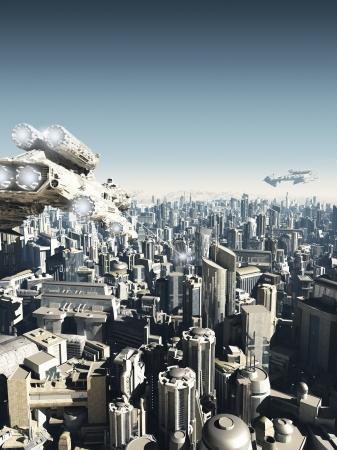 Science fiction stad wordt aangevallen van bovenaf, 3d digitaal teruggegeven illustratie Stockfoto