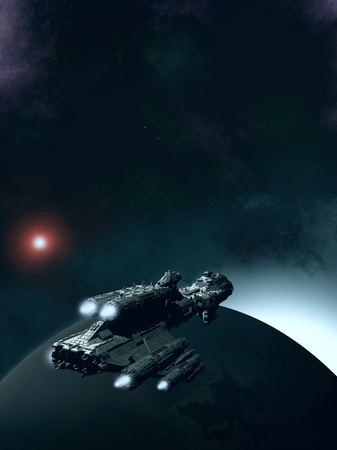 Science fiction scene of a spaceship in orbit around an earthlike planet with the sun rising, 3d digitally rendered illustration