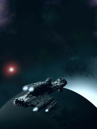 Science fiction scene van een ruimteschip in een baan rond een earthlike planeet met de zon stijgt, 3d digitaal teruggegeven illustratie