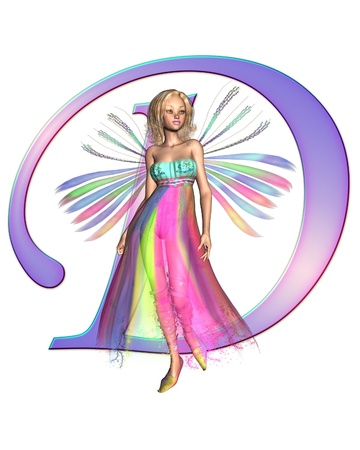 Upper case letter D from a fairy alphabet, decorated with pretty fairy, 3D digitally rendered illustration illustration