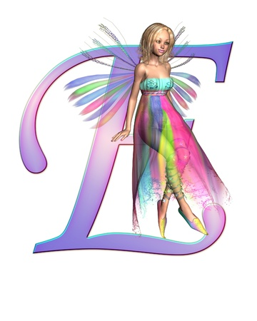e pretty: Upper case letter E from a fairy alphabet, decorated with pretty fairy, 3D digitally rendered illustration