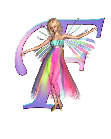 fey: Upper case letter F from a fairy alphabet, decorated with pretty fairy, 3D digitally rendered illustration Stock Photo