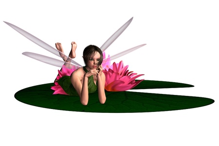 lilypad: Illustration of a pink waterlily fairy lying on a lily pad, 3D digitally rendered illustration