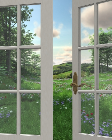 View of rolling hills, flowery meadows and distant woodland countryside through a white painted window, 3d digitally rendered illustration