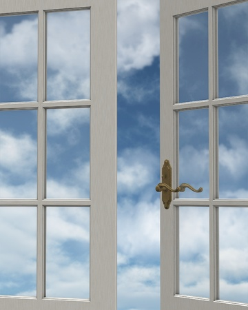 casement: View of a cloudy blue sky through a white painted window, 3d digitally rendered illustration Stock Photo