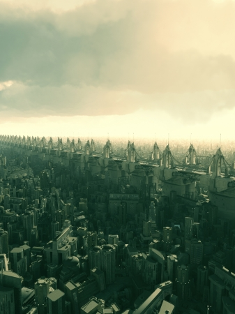 flyover: Skyway flyover above a futuristic city, 3d digitally rendered illustration