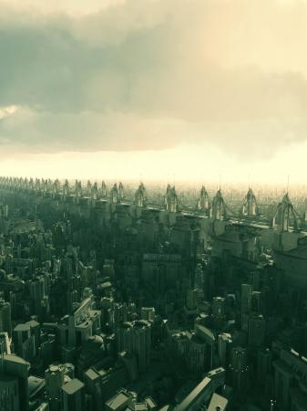 flyover: Skyway flyover boven een futuristische stad, 3d digitaal teruggegeven illustratie