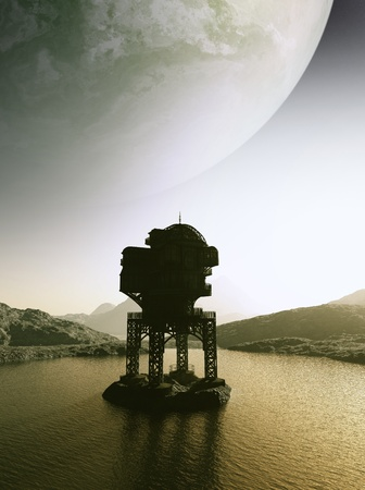 outpost: Lonely outpost on an alien planet, 3d digitally rendered illustration