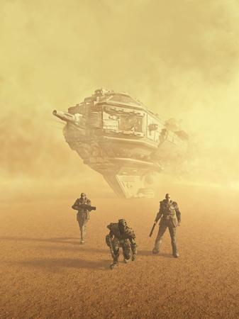 Space Marine trackers na een spoor op een woestijn planeet, 3d digitaal teruggegeven illustratie Stockfoto