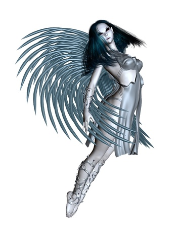 woman floating: Alien angel with silver wings, 3d digitally rendered illustration
