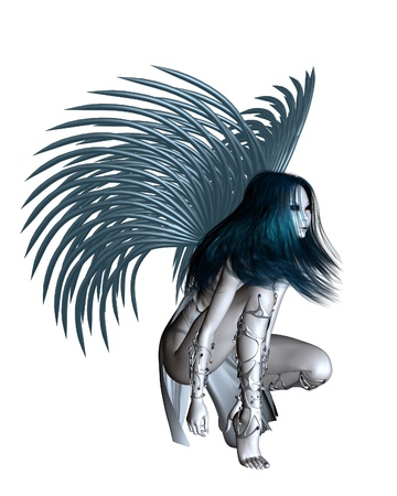 crouching: Alien angel with silver wings, 3d digitally rendered illustration