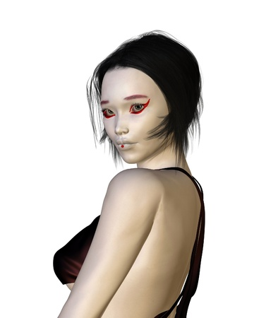 short back: Portrait illustration of a young woman wearing Geisha-style makeup, wearing a silk dress, 3d digitally rendered illustration Stock Photo
