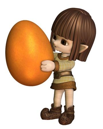 toon: Cute little toon Easter elf carrying an orange Easter egg, 3d digitally rendered illustration