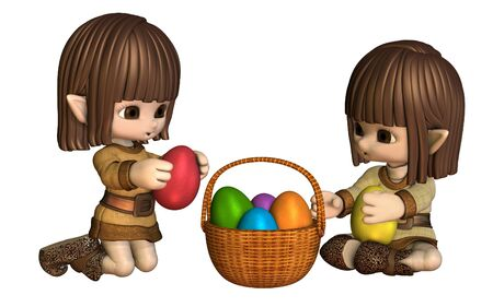 Cute little toon Easter elves putting colourful Easter eggs in a basket, 3d digitally rendered illustration illustration