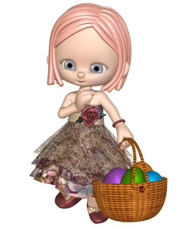 Cute little toon girl with a basket of colourful Easter eggs, 3d digitally rendered illustration illustration