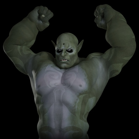 creature of fantasy: Illustration of a green skinned angry troll, 3d digitally rendered illustration on black background Stock Photo