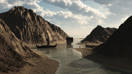 vikingo: Barcos vikingos vikingos en una entrada de Islandia sobre 900AD, 3d digital rindió la ilustración