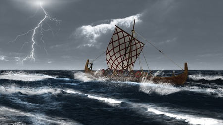 stormy clouds: Viking longship in a stormy Atlantic sea, 3d digitally rendered illustration Stock Photo