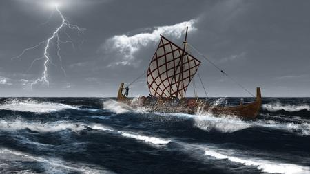 Vikingschip in een stormachtige Atlantische zee, 3d digitaal teruggegeven illustratie