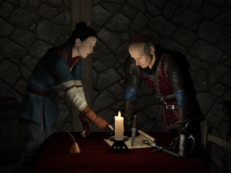 outlaws: Illustration of two Medieval or Fantasy Outlaws in a dark candlelit tavern room planning a raid, 3d digitally rendered illustration